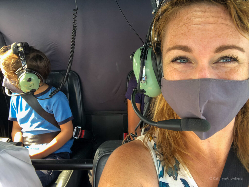 Kathryn and son selfie in helicopter over 1000 islands