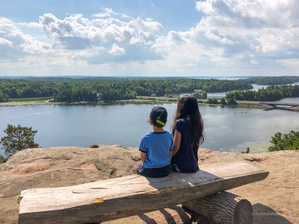 Hiked to the Landon Bay look out in 1000 Islands with kids for the best view