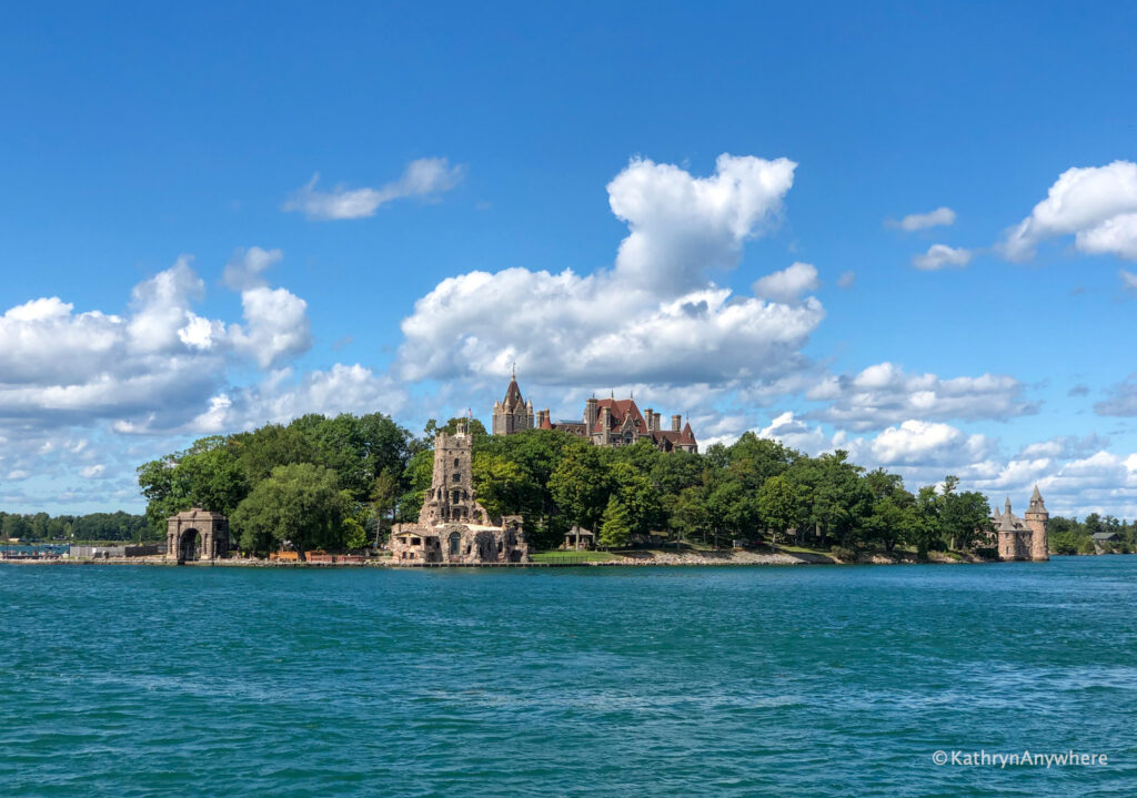 Boldt Castle on Heart Island in 1000 Islands as seen from Rockport Cruise Line sightseeing boat