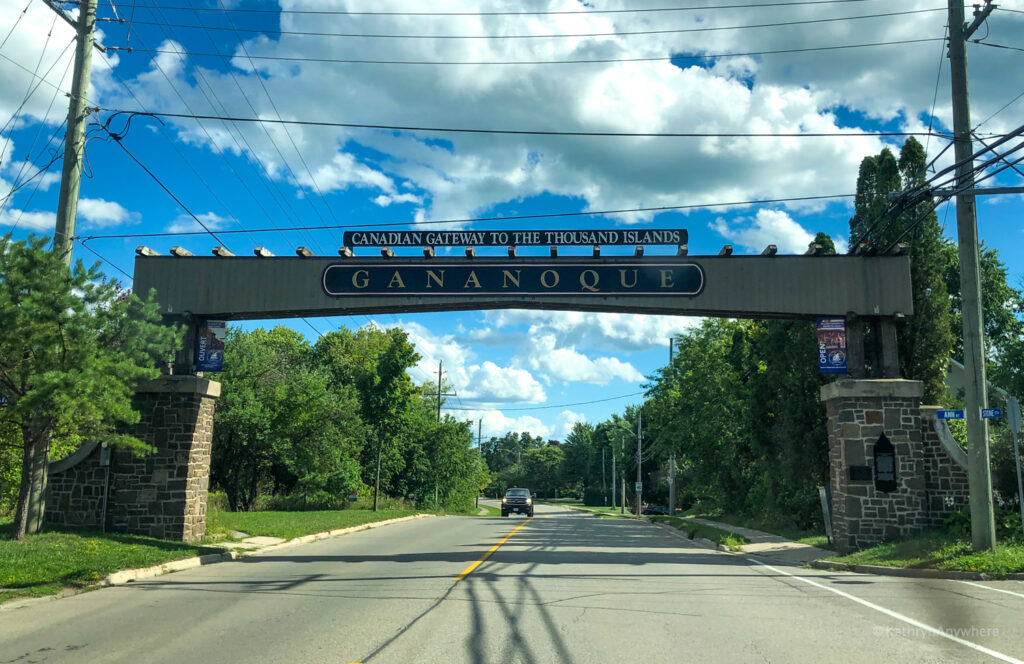 Welcome to Gananoque, Ontario. Sign on road driving south to downtown.
