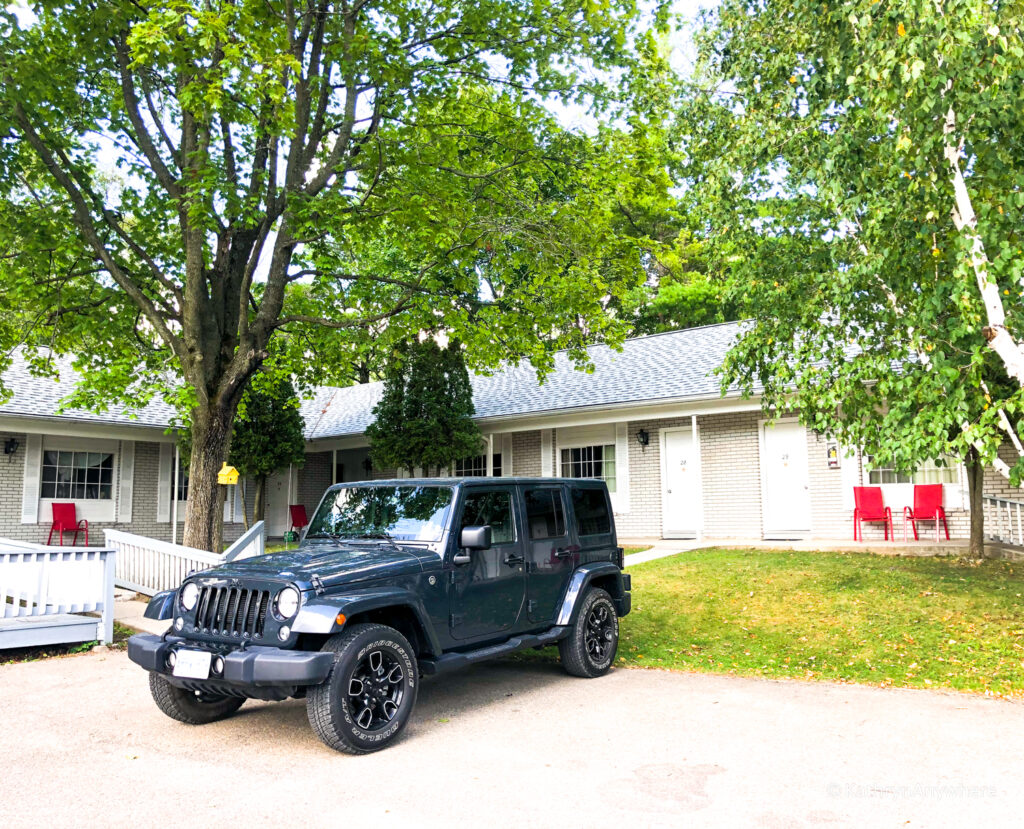 My jeep at the Colonial Inn and Spa where we stayed in Gananoque