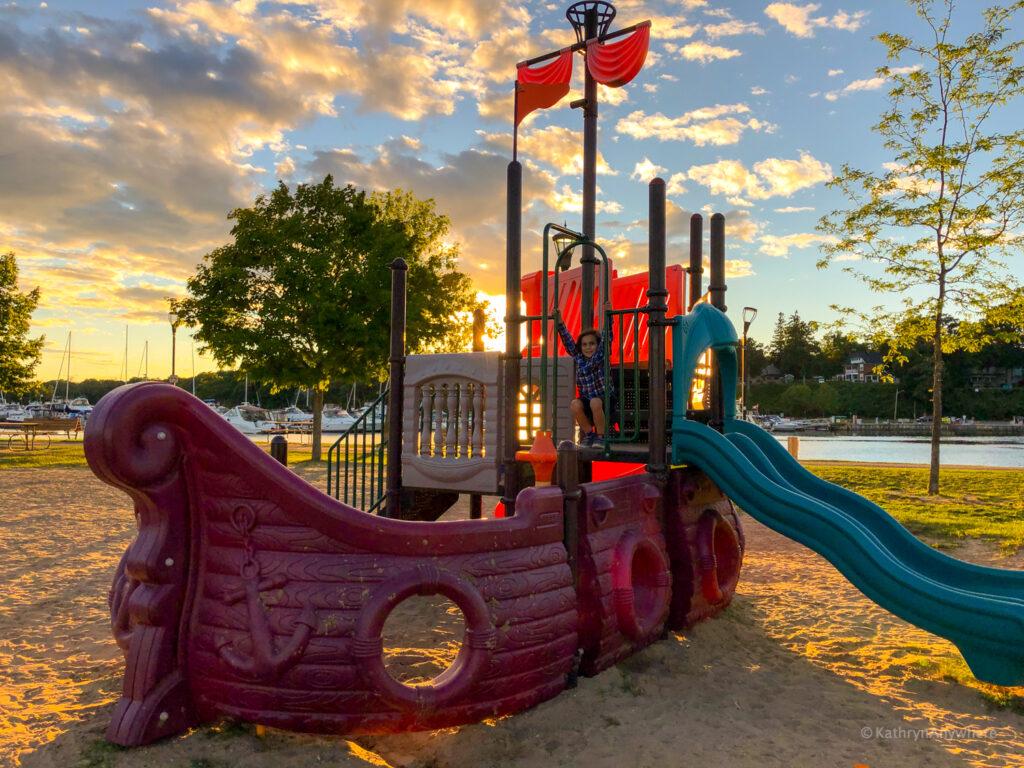 Sunset at Joel Stone Park in Gananoque, Ontario