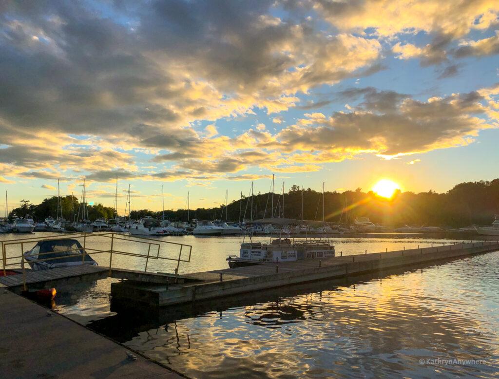 Sunset at the marina in Gananoque, Ontario in 1000 islands