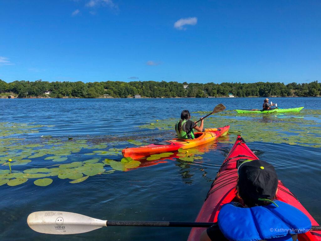 kayaking with kids in the 1000 islands #1000islandskayaking