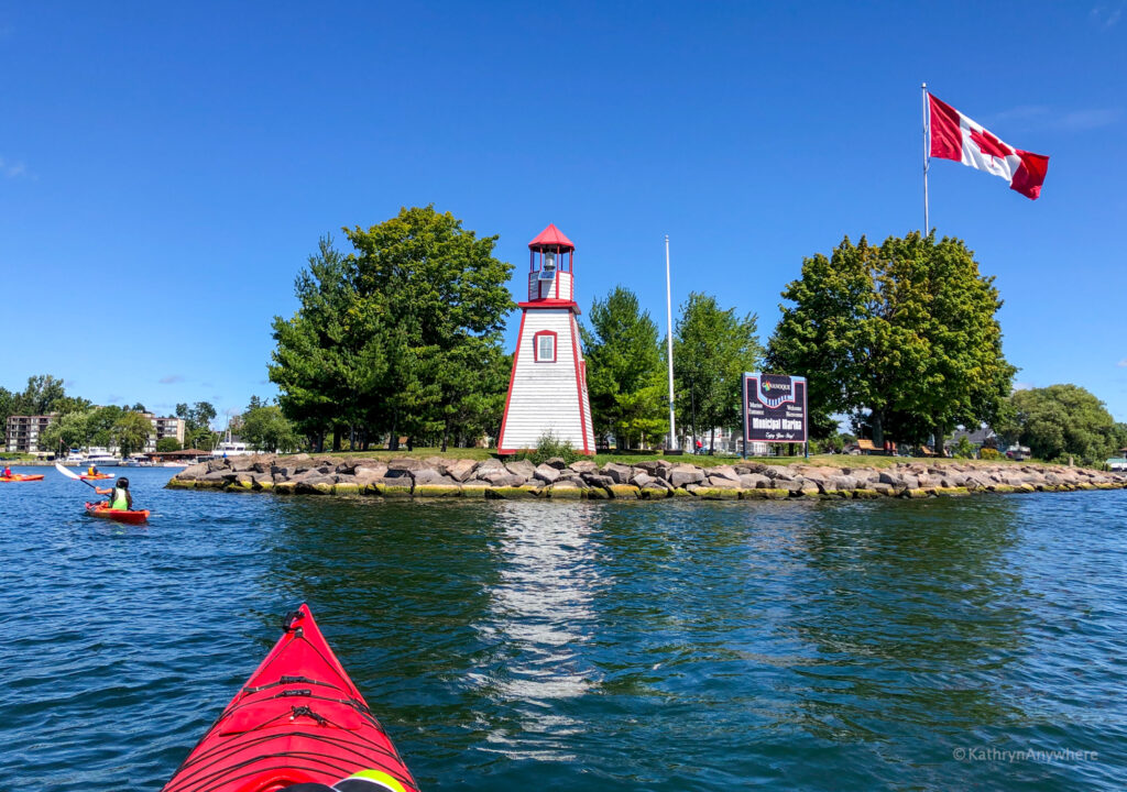 Entering the harbour at Gananoque by kayak