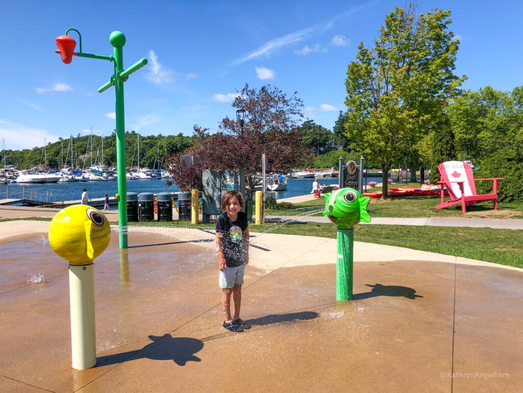 Splash pad at Joel Stone park in Gananoque in 1000 Islands