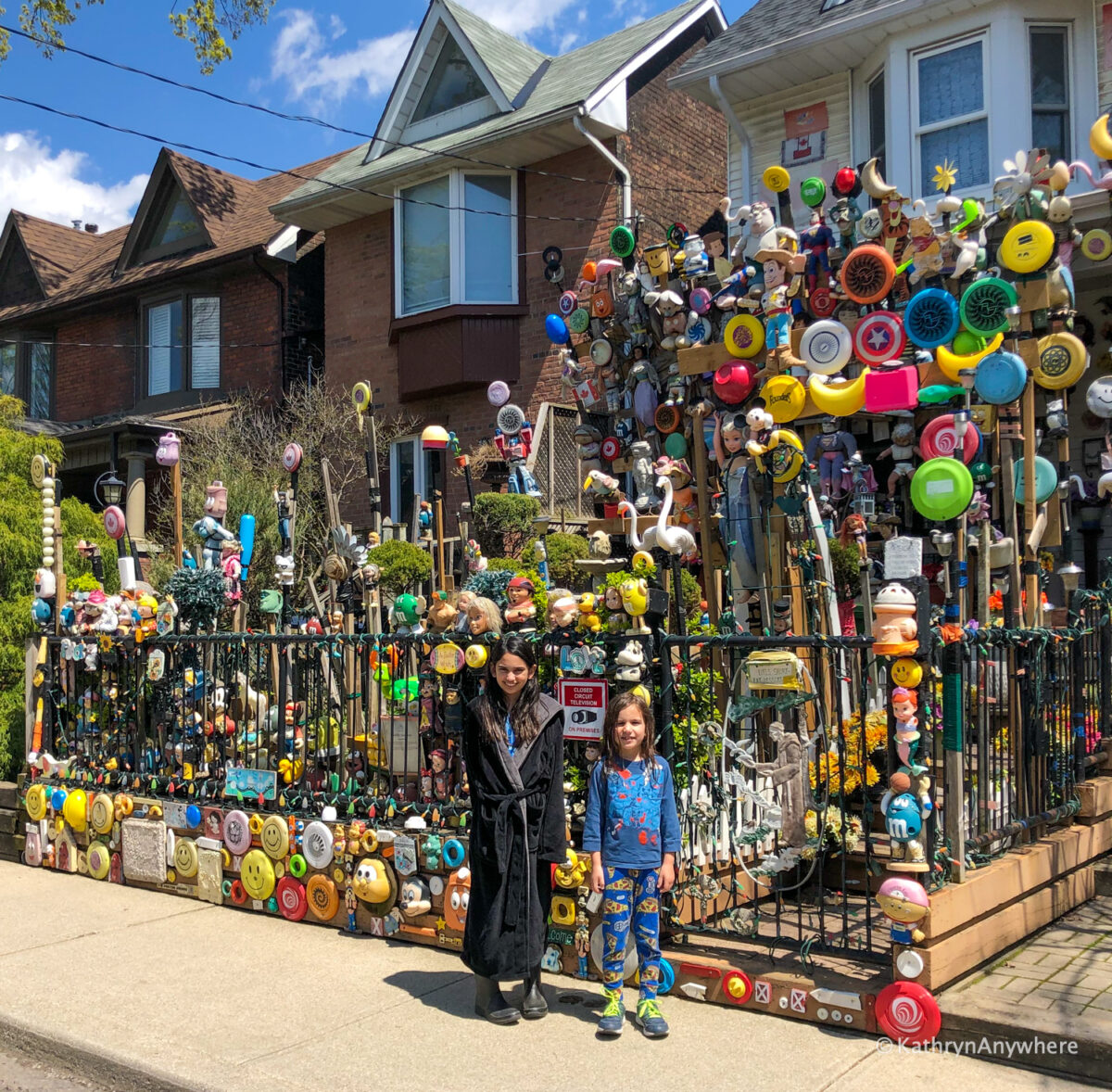 exterior of Toronto Creepy Doll House in Leslieville, 35 Bertmount Ave, Toronto, ON M4M 2X8