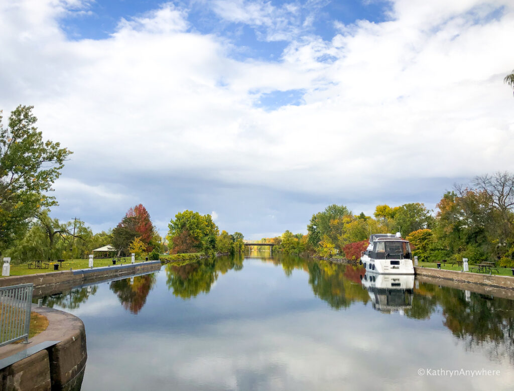 Frankford Lock 6 looking north at the Trent River on the Trent Severn Waterway. One of the best places to see fall colours in Belleville and Trenton area!