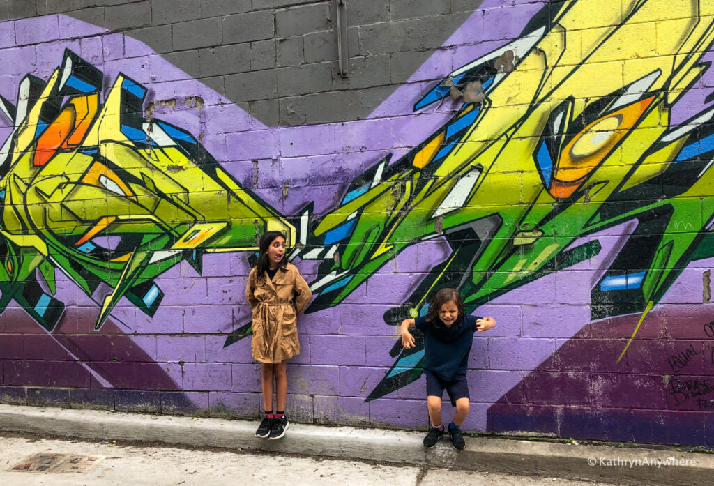 Free things to see in Toronto with your kids? Take a walk down graffiti alley and maybe see an artist at work.
