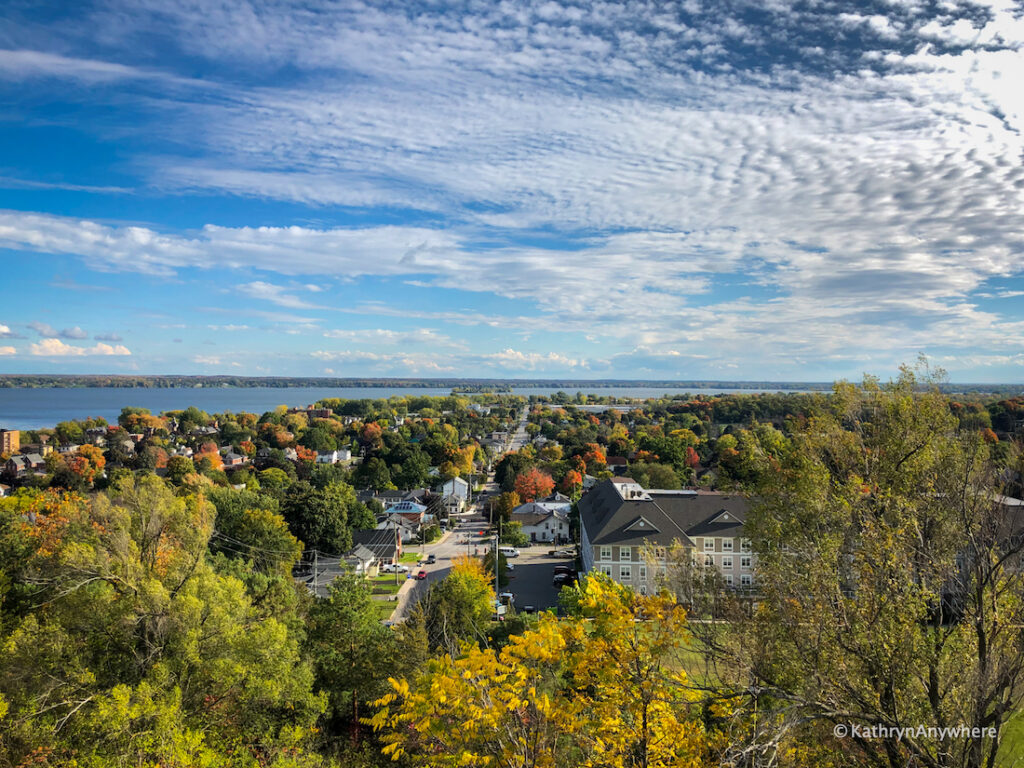 Mount Pelion early autumn look out view, one of the best places to view fall colours in Belleville and Trenton, Ontario