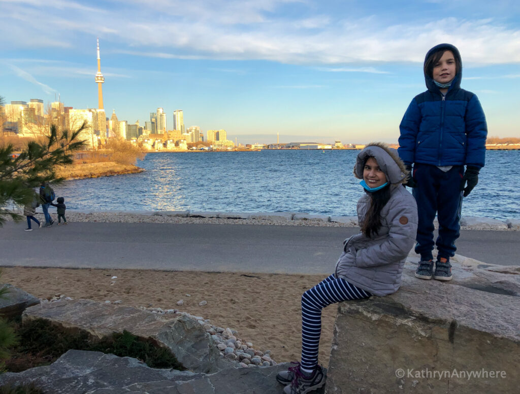 Plane Spotting at Billy Bishop airport from William Davis Trail. Things to do in Toronto with kids.