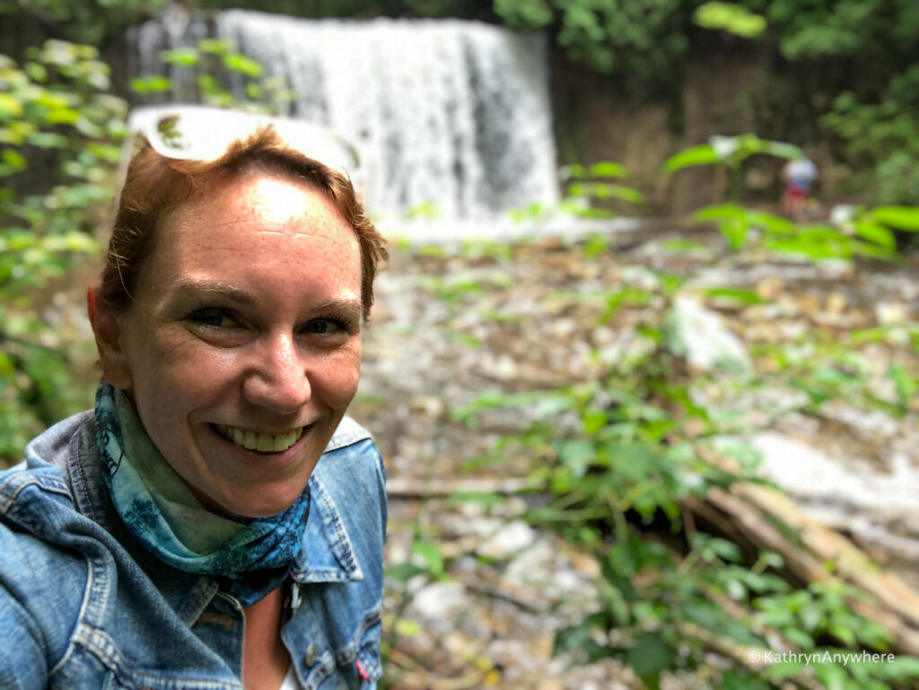 Hoggs Falls behind the author in August 2020