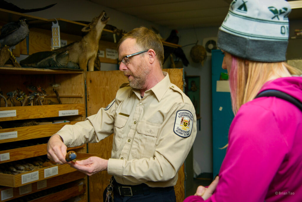 Algonquin Park visitors centre chief naturalist and assistant park superintendent, Rick Stonks behind the scenes tour with Kathryn