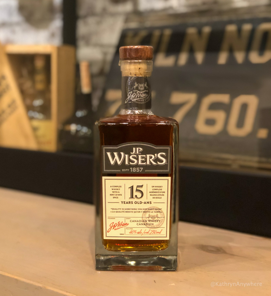 J.P. Wiser's 15 year old Canadian whisky bottle