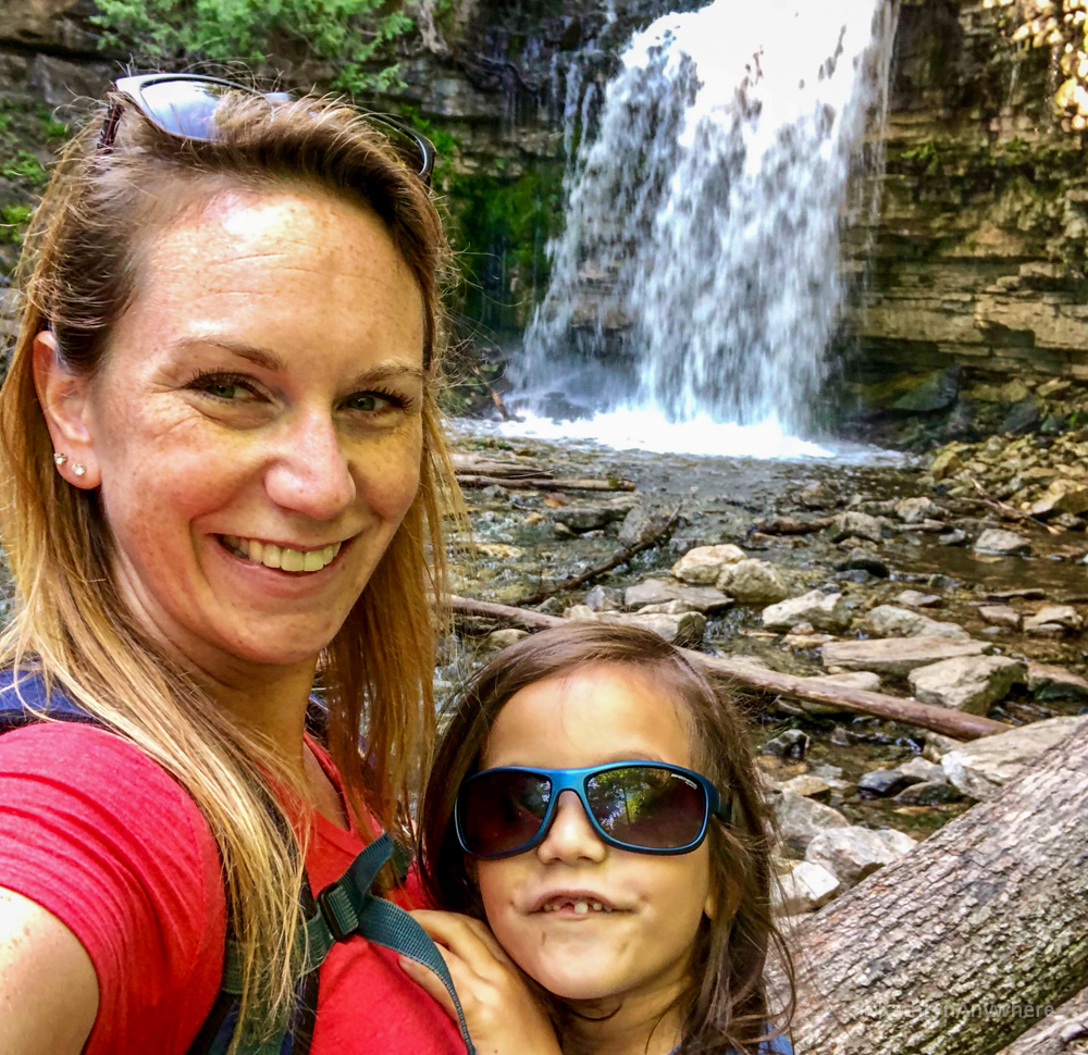 Hilton Falls, Milton. The author taking a selfie in front of the waterfall with kid