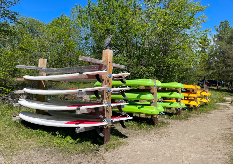 Six Mile Lake stand up paddleboards and kayaks available to rent