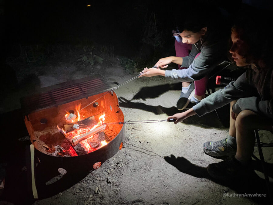 Roasting marshmallows at campsite while learning to camp at Six Mile Provincial Park