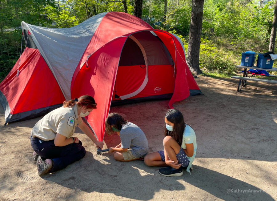 Learn To Camp With Ontario Parks. Photo taken with camp ambassador at Six Mile Lake Provincial Park