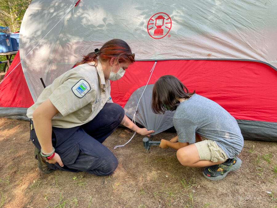 Six Mile Lake Provincial Park Learn To Camp, setting up a tent