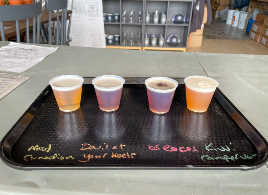Beer flight at Humble Beginnings Brewery. The beers are Mad Canadian, Devil at Your Heels, 65 Roses Red IPA and Kiwi Campervan