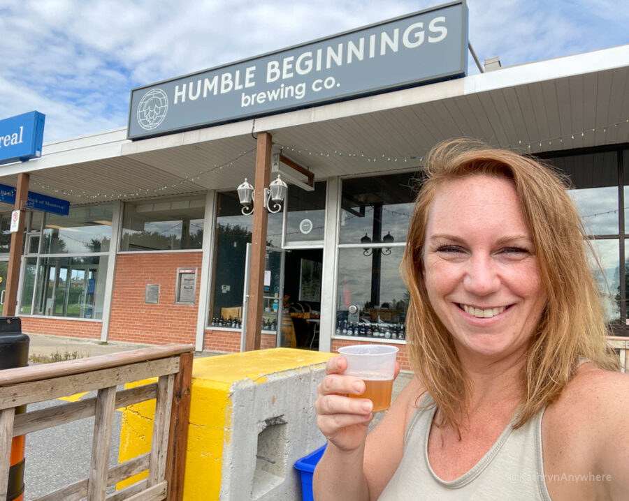 Fuel for the road! Enjoying a flight of beer at Humble Beginnings Brewery Beer.