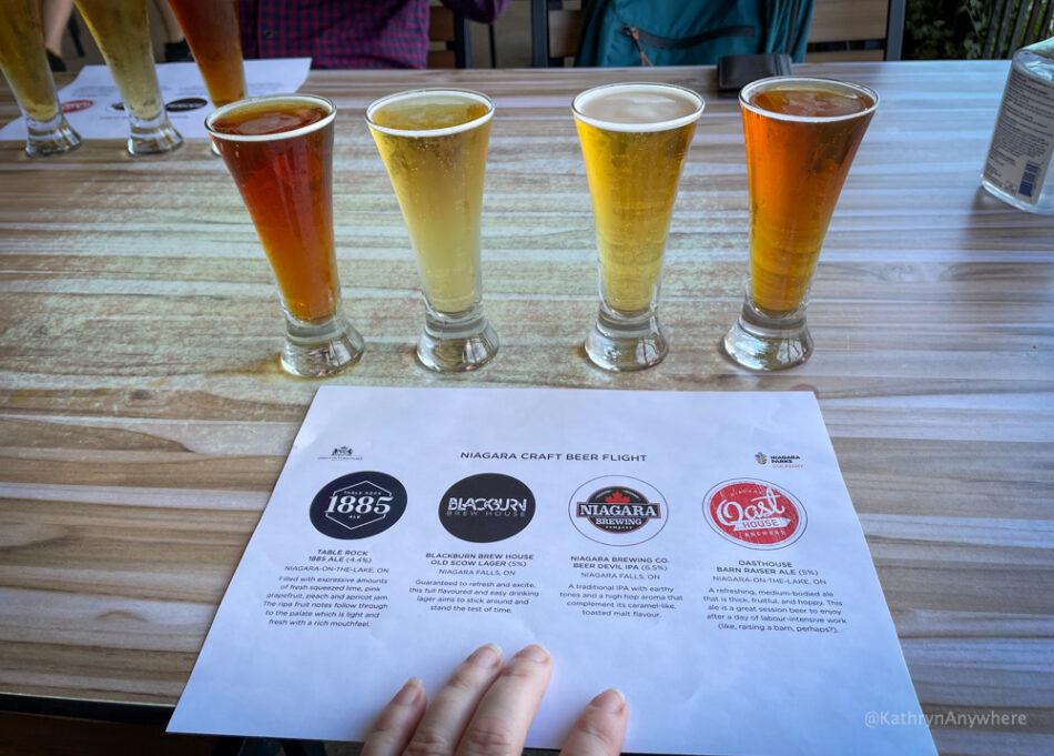Niagara Craft Beer Flight at Queen Victoria Restaurant, Niagara Falls. Beers from Oast, Table Rock and Niagara Brewery