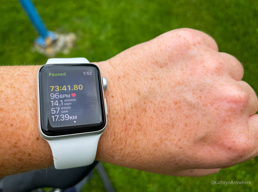 17.39 kilometres and 73 minutes in time from Humble Beginnings Brewery to Guidon Park by bike on Long Sault Parkway and The Waterfront Parkway. Apple Watch check on Waterfront Trail Map at Guidon Park