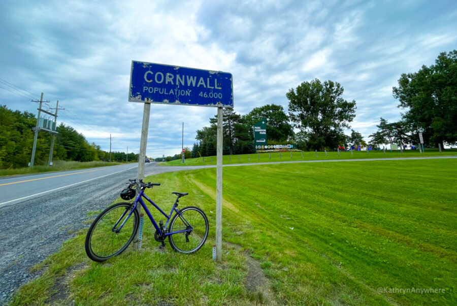 Cornwall City Sign at Guidon Park with a purple bike parked in front of it on the Waterfront Trail