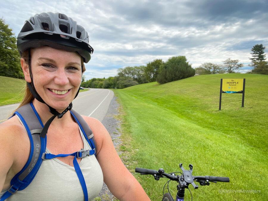 Selfie Stop on bike on Long Sault Parkway, Hoople Island. Biking and beer Cornwall Ontario